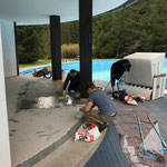 Renovierungsarbeiten im Schwimmbad
