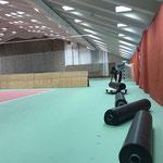 Umbau sport.park für Konzert Trachtenkapelle Lech am Freitag, 14. Februar