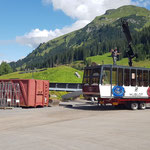 Rüfibahngondeltransporte mit Unimog 1600