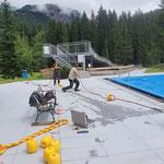 Abtrennseil installieren Waldbad Sportbecken