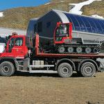 Rücktransport Snow Rabbit nach 2. Arlberger Sommer Schnee Skirennen, Muggengrat-Talstation...