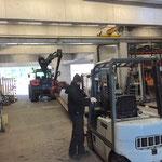 Stahlschienentransport Bauhofdach-Werkstatt, für Weiderostunterbauten