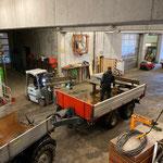 Bänke und Tische zum Bauhof transportieren...