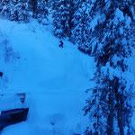 Schnee abtreten Walkerbachbrücke