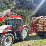Holztransporte mit Steyr 6190 CVT, Bigabhänger