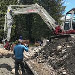Sand schütten für Setzen Überlauftank Kinderbecken