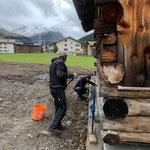 Unterbau Stall Winterwanderweg Anger betonieren