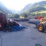 Rohrlager neu, setzen der Stahlträger