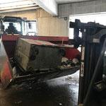 Eisencontainer leeren am Bauhof