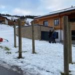Skiabfahrt Tannberg, Netzmasten stellen
