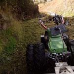 Vorbereitungsarbeiten mit dem Mulcher für Wegebau