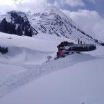 Loipenpräparierung Zugertal, mit PB 100 nach Sturmtief und Schneefall