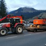 Baggertransport für Lawinen- und Wildbachverbauung vom Jägerheim zum Wehr Zürsbach