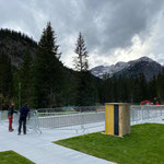 Aquafitbecken für Winter einzäunen