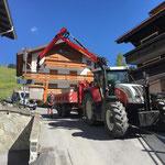 Splittkisten abbauen und zum Bauhof transportieren, mit Steyr 6190 CVT