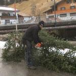 Weihnachtsmarkt Lech - Abbau: Versorgen des Christbaumes