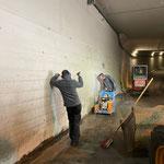 Tunnel Oberlech Umkehrplatz, Asphaltschneidearbeiten für neue Abdichtung
