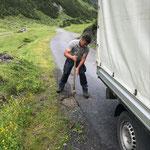 Reparaturarbeiten Straße Spullersee, Murmelloch