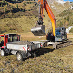 Transportarbeiten mit Lindner Unitrac, Dalaaser Stafel