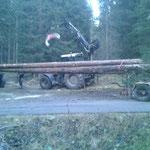 Langholzfuhre auf Unimog 1600 mit Nachläufer beladen, mit Steyr 6190 CVT und Kran