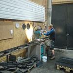 Materialvorbereitung 10 Stück neue Radübergänge, Schlosserei