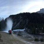 Probebeschneiung Schneeflucht, mobile Schneianlage