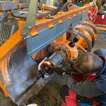 Zauggfräse Lader 509, Reparaturarbeiten Lager Frässchnecke
