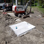 Waldbad, Fundament Außendusche und Abschluss Kabelverlegungsarbeiten
