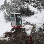 Baggerarbeiten mit TB 216 bei der Wieselealpe, WWW Zürs - Lech
