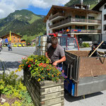 Blumenpflege Gemeindeparkplätze
