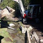 Waldbadweg neu, entfernen des Holzstegs