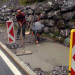 Fundament betonieren für Ortseingangstafel neu