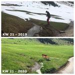 Schnee von gestern: Flühenweg Wegedrainage