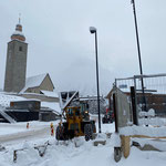 Baustelle Gemeindezentrum winter- und saisonstauglich machen