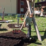 Spielplatz sport.park: Kleinkindbereich Fallschutz ausbringen
