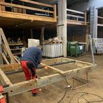 Grüner Ring Steg Zürsersee, Vorbereitungsarbeiten Aufbau Rampenelement