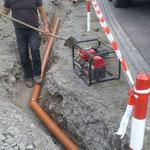 Tagwasserschacht setzen und Rohr verlegen Umkehrplatz Stubenbach
