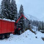 Holz abladen für Hacker, Deponie Stubenbach