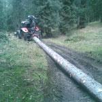 Forstarbeiten Plattenkopf, Spullerwald. Mit Steyr 6190 CVT, Kran