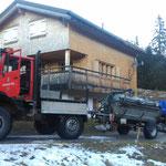 Drittleistung mit Unimog 1600 und Pumpfaß, Grube leeren Jagdhütte Älpele