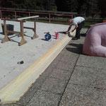 Waldbad Kinderbecken - Montage Treppenholz