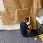 Sanierung Schule, Abklebe- und Malarbeiten Klassenzimmer