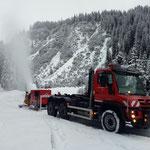 Mobile Schneeanlage nachstellen, Probebetrieb Schneeflucht, Zug