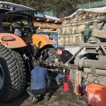 Gelenkwelle anstecken für Arbeiten mit Pumpfass, Steyr 6200 CVT