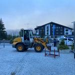 Blumentröge fertig zurück stellen nach Veranstaltung Arlberg Classic Car Rally