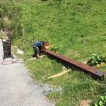Brennarbeiten an Stahlträger am Bauhof