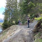 Wegebau nach Hangrutschung Wanderweg Zürs-Lech, mit TB 216