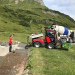 Wasserscheide Zürs: Betonierarbeiten