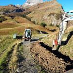 Mithilfe bei Wasserleitungsverlegungsarbeiten Sulzamahd (Auenfeldsattel - Karbühel)