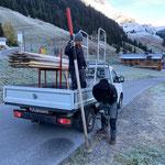Schneestangen setzen Richtung Stubenbach